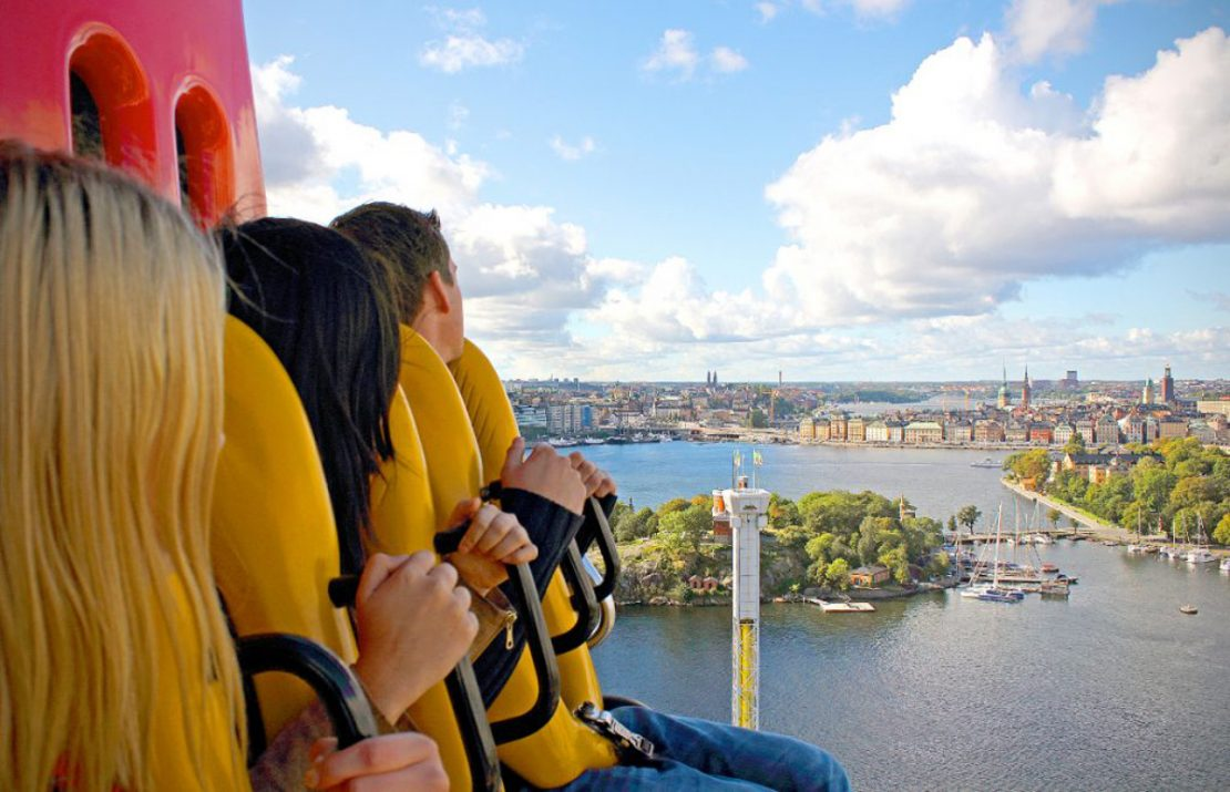 View over Stockholm from the perspective of freefall tower passengers