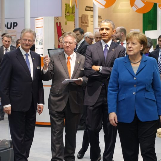 Barack Obama and Angela Merkel visiting the LAPP exhibition booth at Hannover Messe