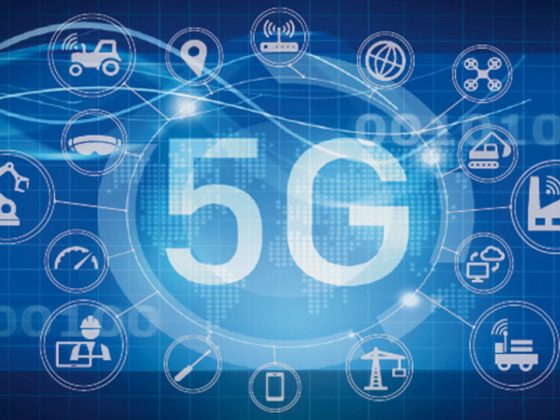 An illustration shows with icons how 5G can be used in different sectors