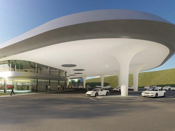 Das Bild zeigt eine Illustration von dem geplanten Sortimo Innovationspark Zusmarshausen