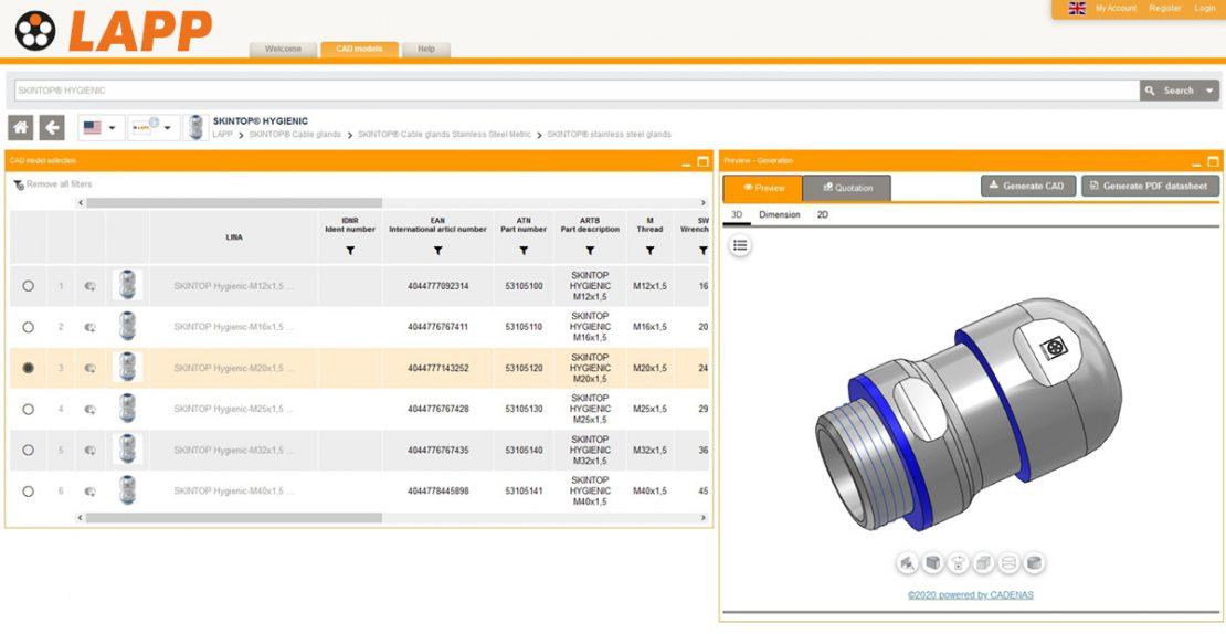 Screenshot: SKINTOP® HYGIENIC in the CADENAS CAD product catalogue