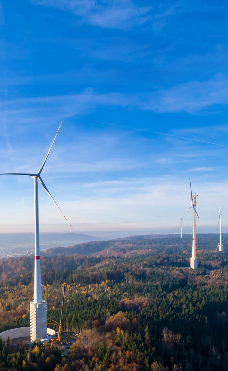 Wind turbines in the wind turbine in Gaildorf