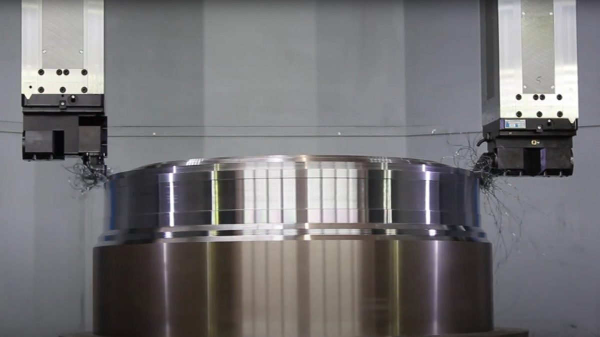 Video image of a carousel lathes.