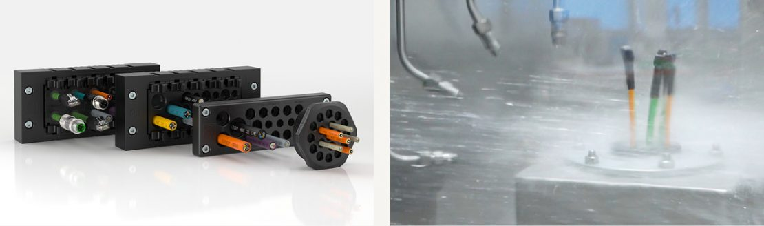 The picture on the left shows a photo of the SKINTOP® MULTI-M multi-cable entry system. On the right, the SKINTOP® MULTI-M is shown being tested with a water jet.