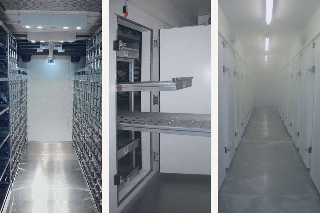 On the picture you can see 3 different inside views of a refrigerated container.