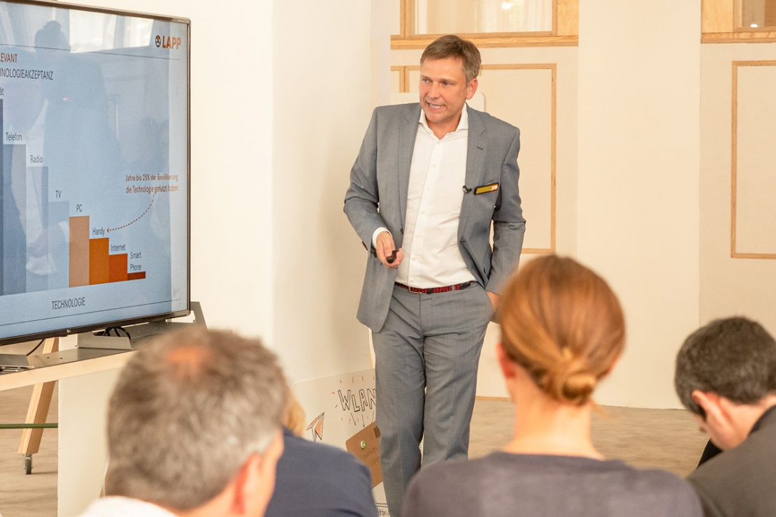 On the picture you can see Georg Stawowy, Member of the Board for Innovation and Technology at Lapp Holding AG, giving a presentation at the 20th LAPP trade press days in Berlin.