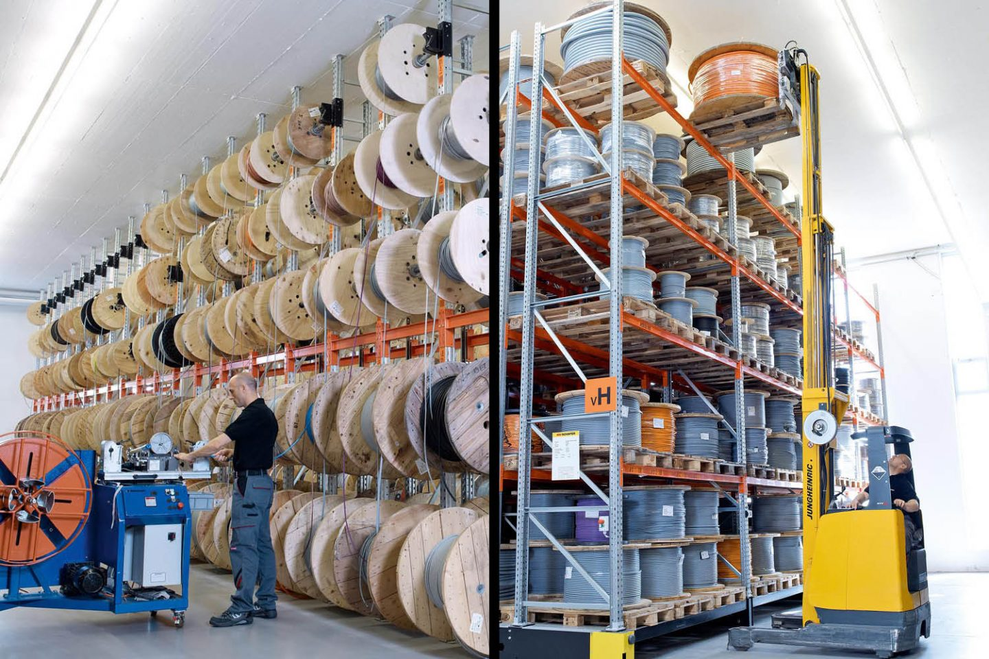 On the picture you can see Volland's warehouse with cable drums.