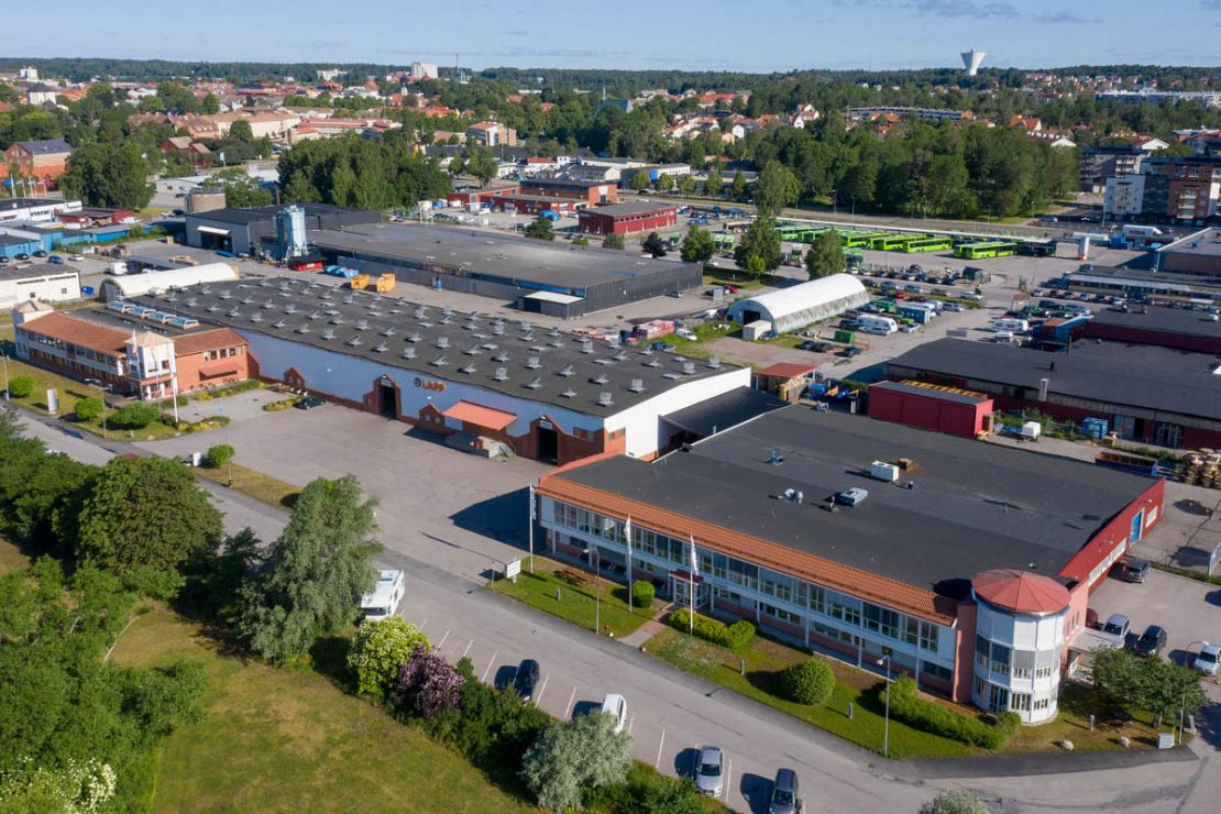 The picture shows the Fleximark AB building in Sweden from above.