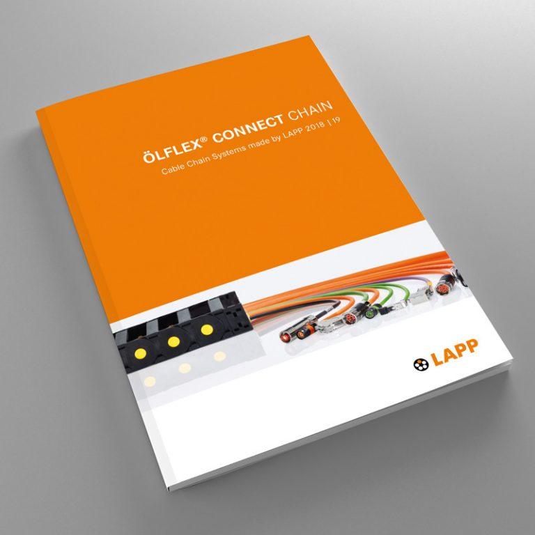 A brochure is shown: LAPP ÖLFLEX® CONNECT CHAIN catalogue