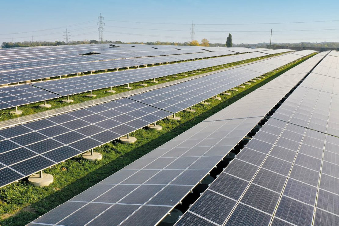 On the picture you can see the photovoltaic modules of the Austria's open-air photovoltaic plant in Schönkirchen-Reyersdorf.
