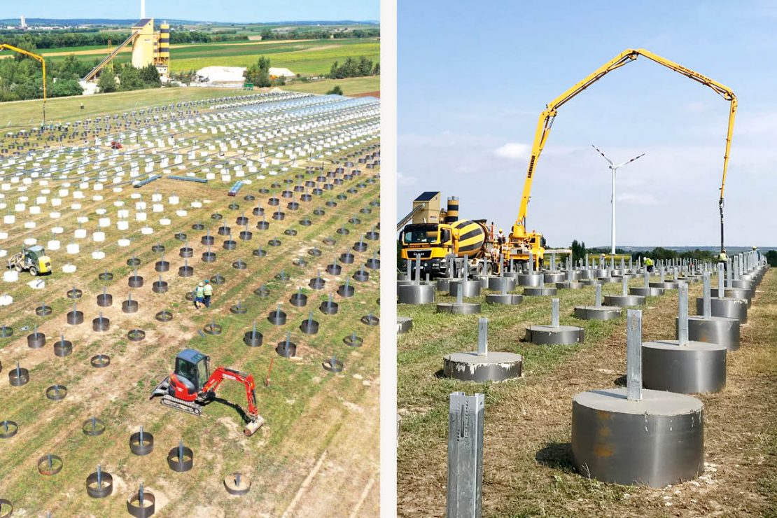 On the picture you can see the construction of the Austria's open-air photovoltaic plant in Schönkirchen-Reyersdorf.