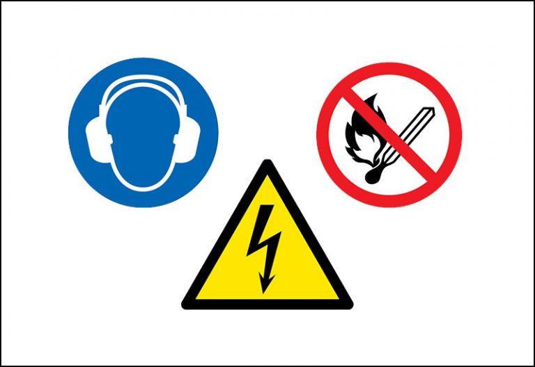 The picture shows 3 safety signs.