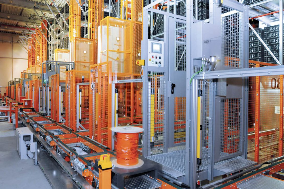 The picture shows the automated drum storage of the LAPP logistics and service center in Ludwigsburg.