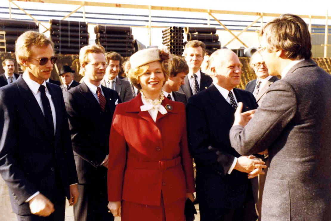 The picture shows the Lapp family at the groundbreaking ceremony in 1982