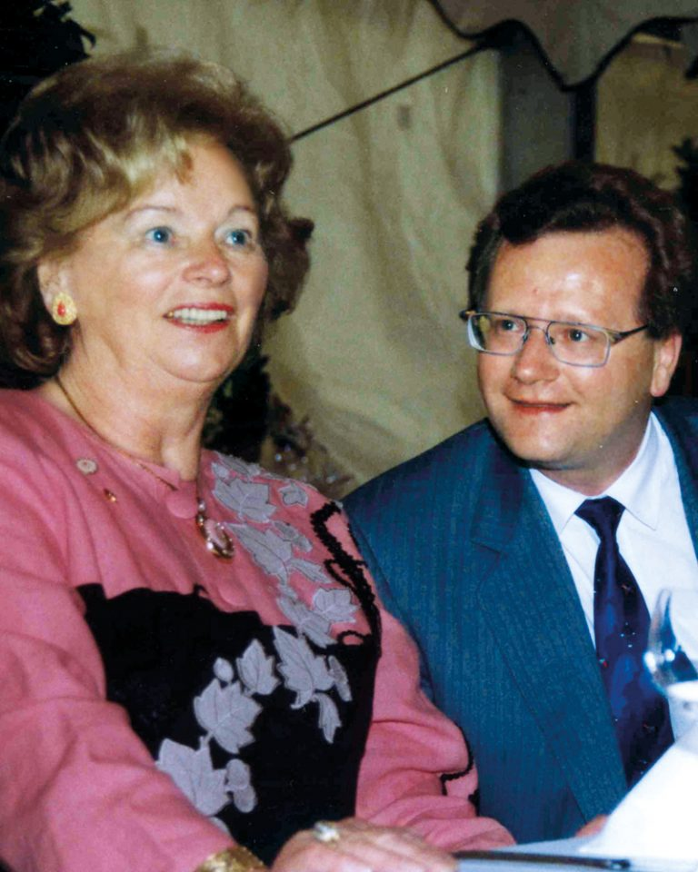 The picture shows Ursula Ida and her Son Andreas Lapp on her 65th birthday in 1995