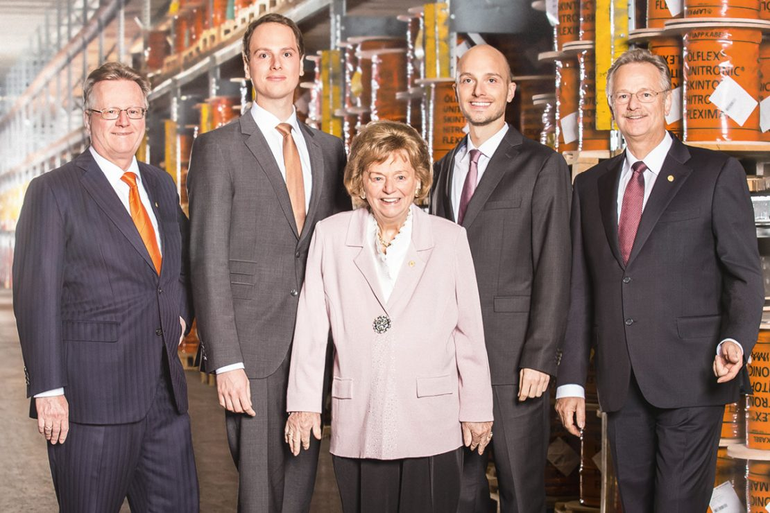 In the picture you can see Andreas Lapp, Matthias Lapp, Ursula Ida Lapp, Alexander Lapp, Siegbert Lapp in the cable warehouse.