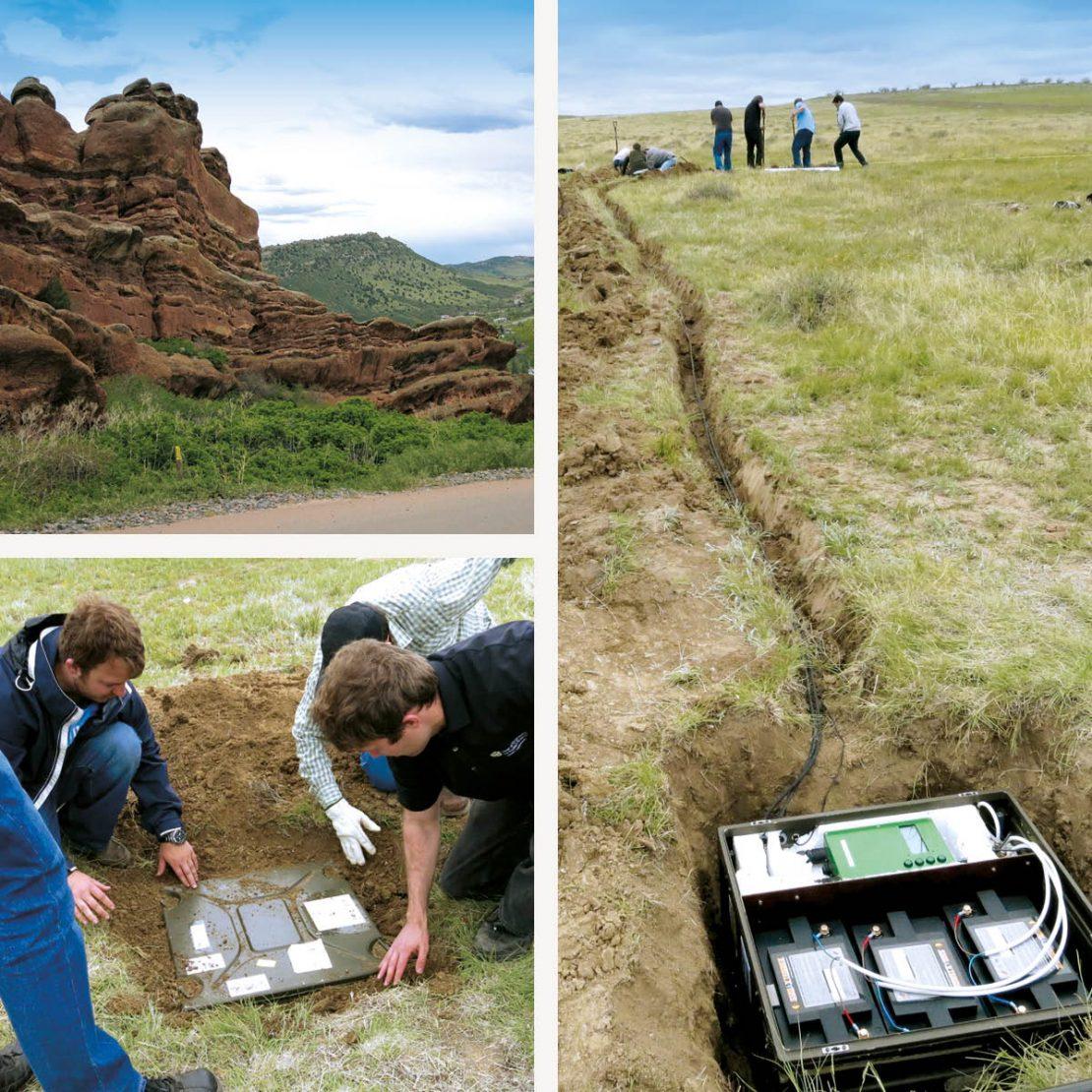 Auf dem Bild sieht man ein Team von jungen Forschern, die eine empfindliche Antenne im Boden installieren.