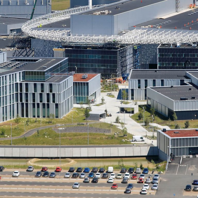The picture shows an aerial photo of the ESS construction.