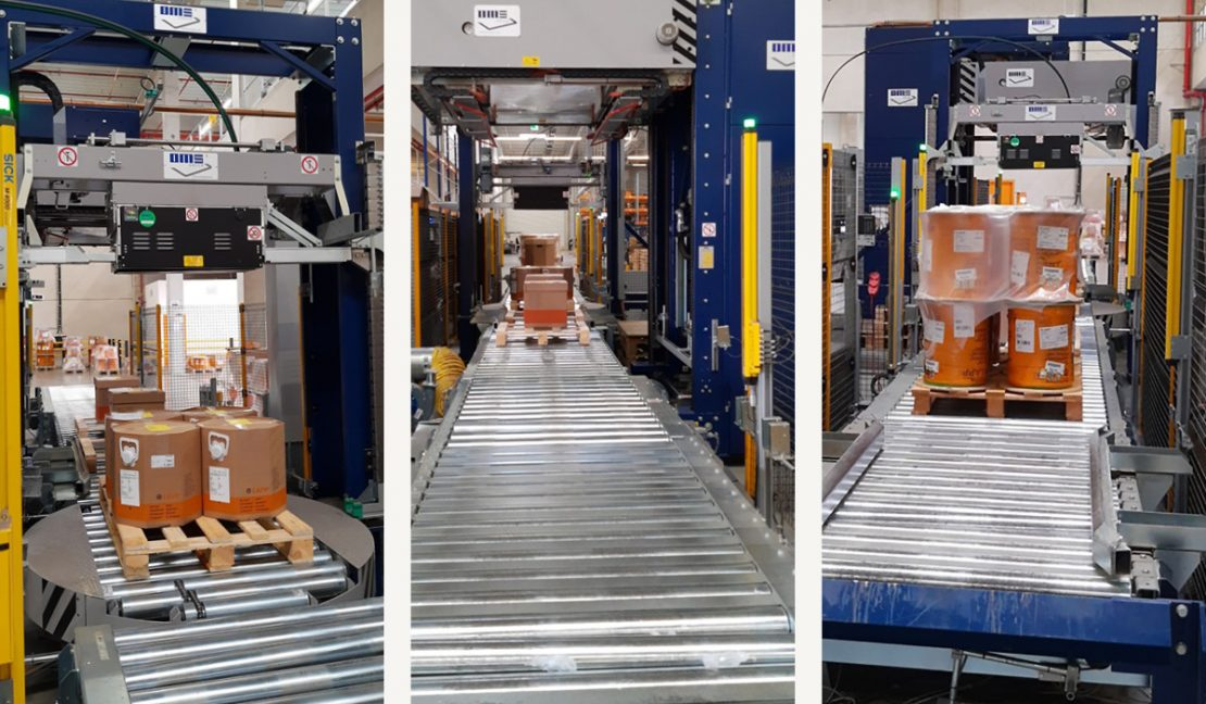 The picture shows 3 packaging lines from Officina Meccanica Sestese (OMS Group).