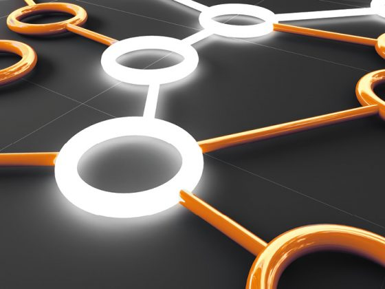 The image shows glowing circles in white and orange that are connected to each other.